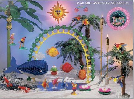 été - éléments du kit été et vacances, poissons, arbres exotiques, soleil, guirlandes de palmiers