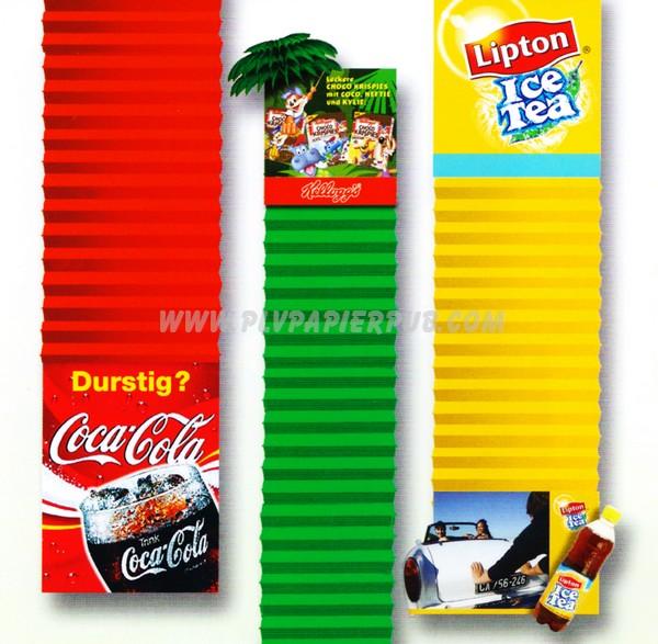 linéaire - Pour votre décoration de plafond ces kakémonos en papier crépon accordéon au logo de votre marque.