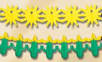 western : guirlande en papier avec comme motif des cactus et des soleils