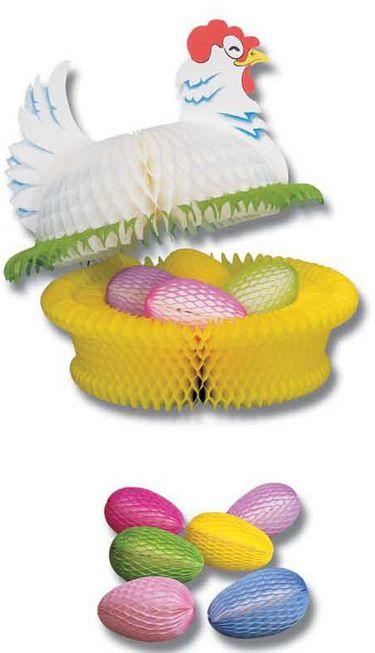 pâques - décor ensemble poule en papier gaufré sur nid coloré avec oeufs