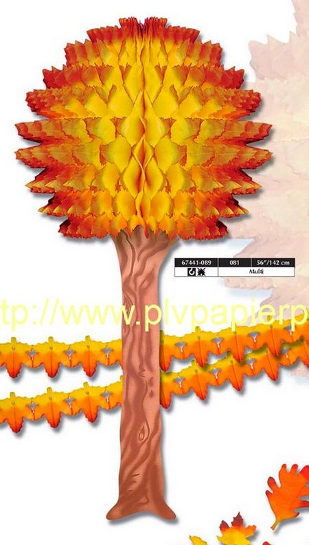 automne - arbre avec feuillage en volume papier et guirlandes de feuilles
