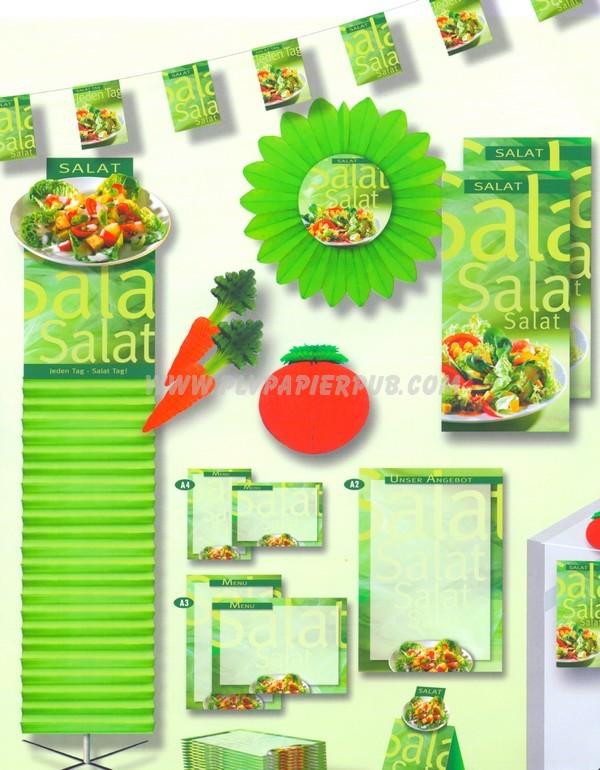aménagement stand - ensemble complet de décoration d'un stand ou d'un corner comprenant guirlande de fanions, kakemono, décoration en forme de fruits et de fleurs, affichettes