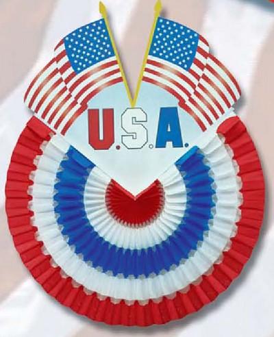 déco - motif aux couleurs des USA en volume avec cocarde entaillée par deux drapeaux américains
