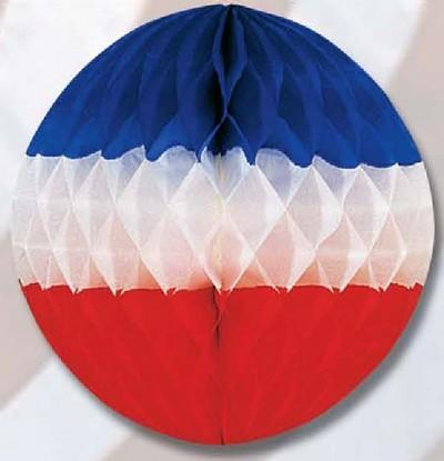 déco - boule en papier gaufré aux couleurs de la France