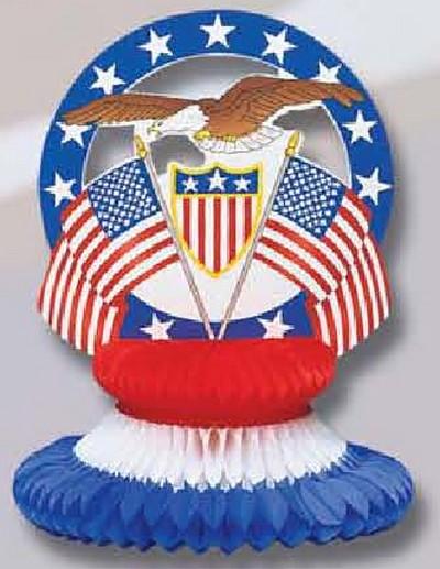 déco - motif aux couleurs des USA en volume avec aigle, drapeaux sur support gauffré