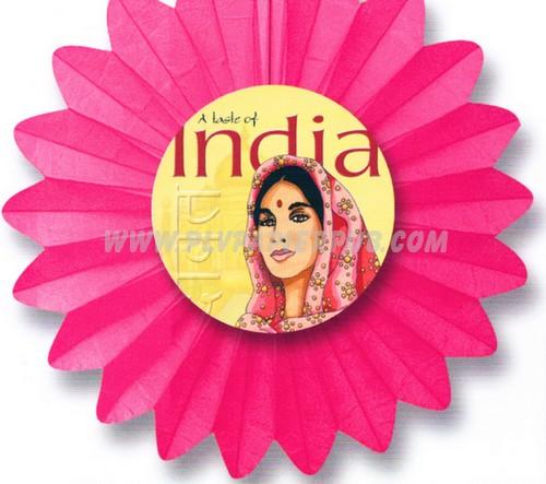 décoration - fleur en papier thème Inde avec illustration au centre