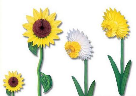 fleurs - décoration en papier en forme de fleur, tournesol et jonquille