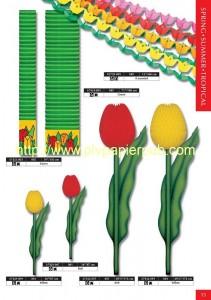 fleurs - tulipes en papier crépon, kakemonos avec motif floral et guirlandes de fleurs