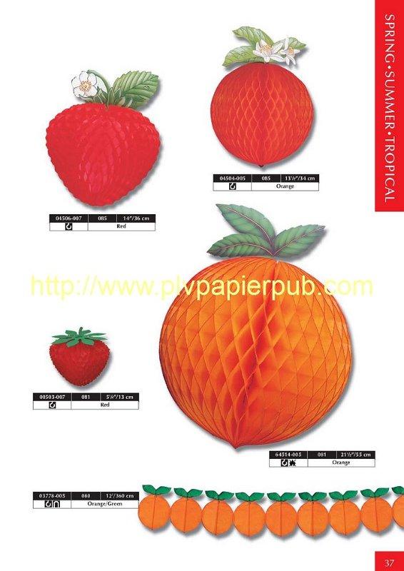 décoration - répliques de fruits en papier en volume et en couleurs