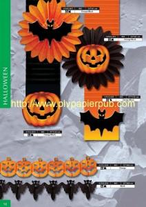 déco Halloween - ensemble en papier comprenant kakemono, citrouilles, rosaces avec chauve-souris, guirlandes