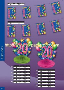 objets décoratifs - ensemble pour anniversaire comprenant guirlande, rosace avec motifs à ballons et date en papier crépon