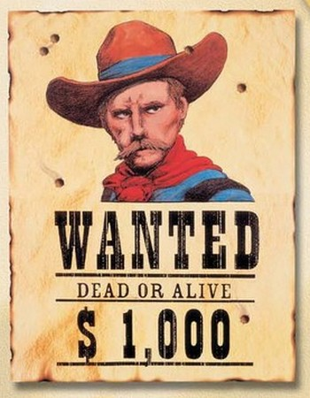 "western : affichette ""Wanted"""