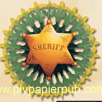 western : rosace en papier crépon avec comme motif l'étoile de sheriff