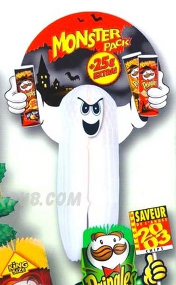 totem publicitaire - fantôme pour une marque de biscuits avec logo en haut